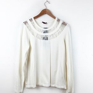Vince Camuto antique white lace victorian sweater